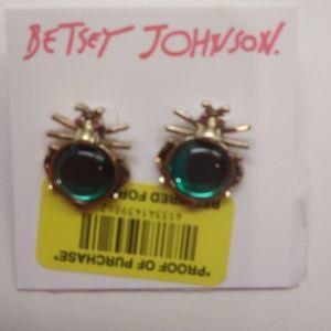 Betsey Johnson New Aqua Beetle Earrings